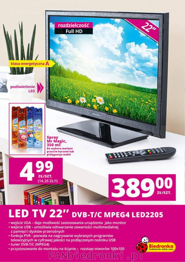 LED TV 22'' DVB T/C MPEG4 LED2205, duży wybór spray'ów ...