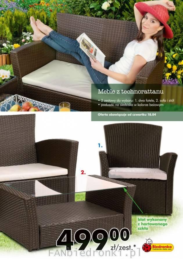 Meble Ogrodowe Z Technorattanu Opinie : Meble do ogrodu z technorattanu z poduszkami na siedziska w kolorze